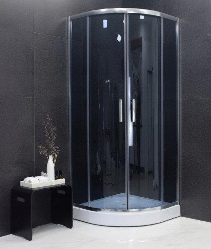 Kvadrātveida dušas kabīne Mexen Rio ar paliktni un sifonu, 70x70, 80x80,90x90, grafīts cena