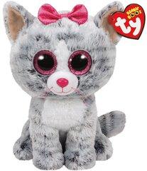 Plīša rotaļlieta TY Beanie Boos KIKI pelēks kaķis, 40 cm, 36838 cena un informācija | Mīkstās (plīša) rotaļlietas | 220.lv