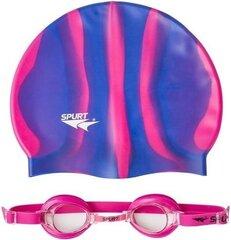Peldcepure un bērniem paredzētu briļļu komplekts Spurt 1100 AF, rozā/violēts