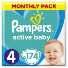 Подгузники PAMPERS Active Baby-Dry, Monthly Box, 4 размер 9-14кг, 174 шт.