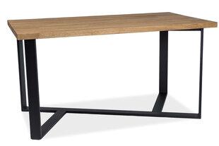 Galds Bernardo, 150 cm, dabīgs finieris, melnas/ozola krāsas cena un informācija | Virtuves un pusdienu galdi | 220.lv