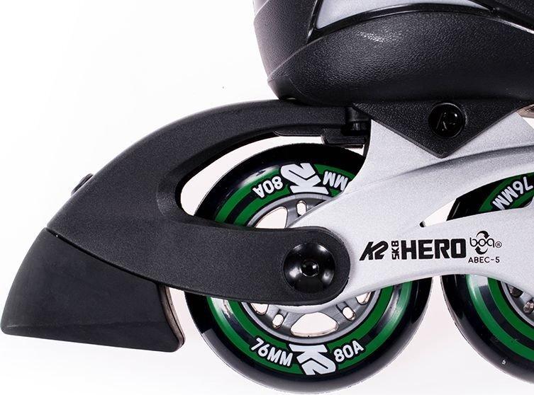 Skrituļslidas K2 Hero Boa Alu, melnas/zaļas