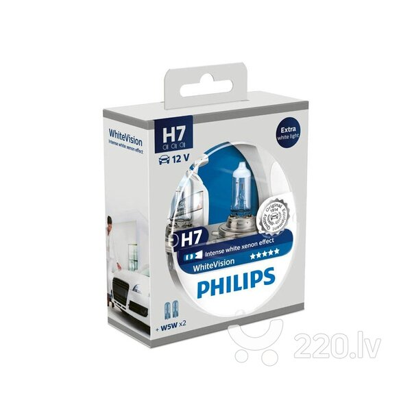 Philips H7 12V/55W +60% Philips White Vision лампочка + W5W (2шт)