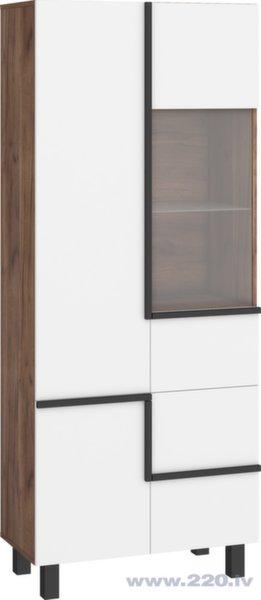 Vitrīna Meblocross Lars 13 3D, balta/tumši brūna cena un informācija | Vitrīnas, skapji | 220.lv