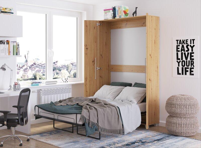 Откидная кровать Meblocross Teddy 120, 120x200 см, цвета дуба