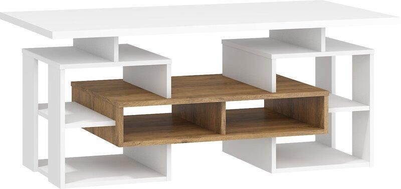 Kafijas galdiņš Meblocross Rio W, tumša ozolkoka/balta krāsa