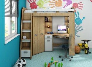 Bērnu istabas mēbeļu komplekts Meblocross Antresola L, baltā/ozolkoka krāsā
