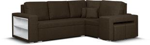 Mīksts stūra dīvāns ar pufiem Bellezza Milo5, tumši brūns