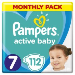Подгузники PAMPERS Active Baby-Dry, Monthly Box, 7 размер, 15+кг, 112 шт.