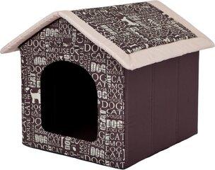 Gultiņa-būda Hobbydog R3 uzraksti, 52x46x53 cm, brūna
