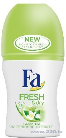 Rullīšu dezodorants antiperspirants Fa Fresh & Dry Green Tea 50 ml