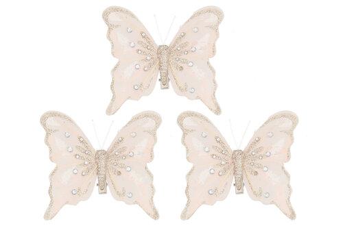 Winterseason Ziemassvētku rotājums Tauriņi, 3 gab,, gaiši rozā