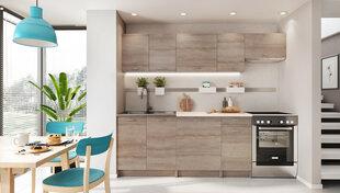 Virtuves skapīšu komplekts Mela 1,8/2,4 ar galda virsmu, brūns cena un informācija | Virtuves mēbeļu komplekti | 220.lv