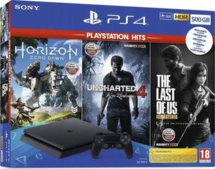 Sony PlayStation 4 (PS4) Slim 500GB + Horizon Zero Dawn + Uncharted 4 + The Last of Us