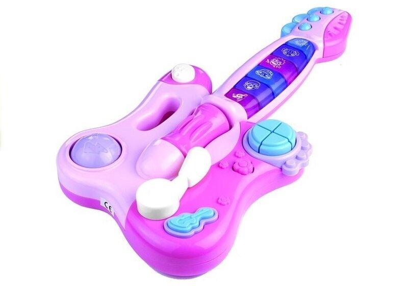 Rotaļu ģitāra ar klavierēm, rozā