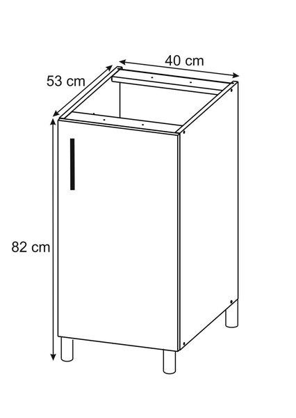 Virtuves skapītis Lupus Lignum1D 40 cm, balts/ozola krāsas internetā