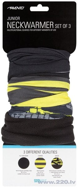 Avento šalles Active, 3 gab., fluorescent yellow/black/anthracite/grey