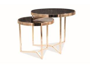 2-u galdiņu komplekts Signal Meble Delia II, melns cena un informācija | Žurnālgaldiņi | 220.lv