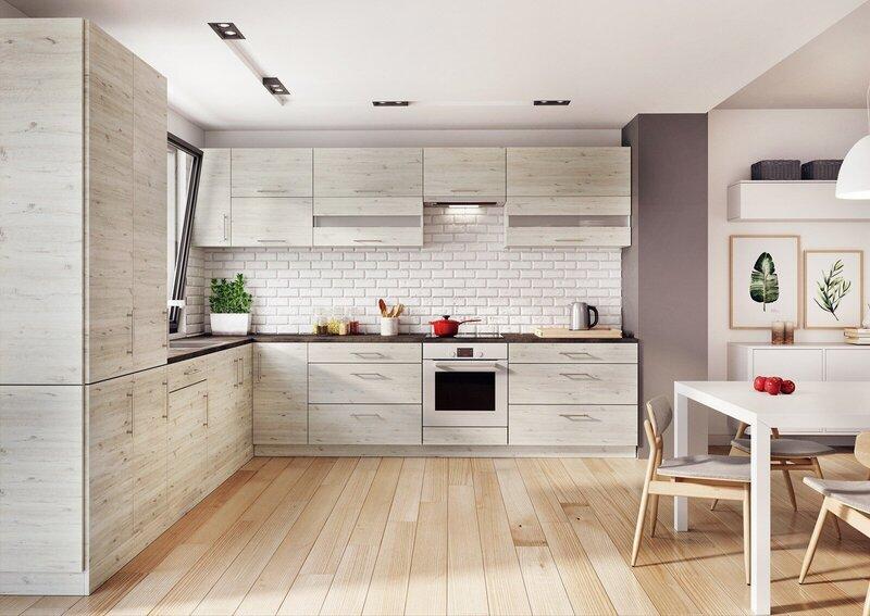 Augsts virtuves skapītis Lupus Luna 2D 40 cm, gaiši brūns lētāk