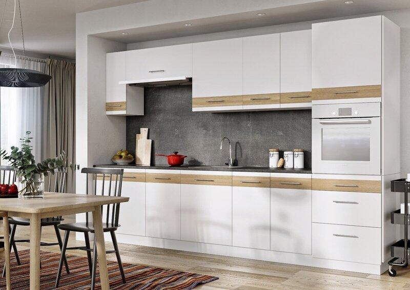 Virtuves skapītis Lupus Lignum 3S 90 cm, balts/ozola krāsas atsauksme