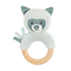 Mīkstā rotaļlieta grabulis ar graužamo rotaļlietu Smiki Lācītis, 14 cm, zila
