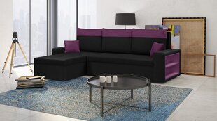 Stūra dīvāns Bellezza Pablo, melns/violets cena un informācija | Stūra dīvāni | 220.lv