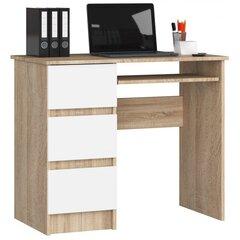 Письменный стол A6, левый, цвета дуба/белый цена и информация | Письменный стол A6, левый, цвета дуба/белый | 220.lv