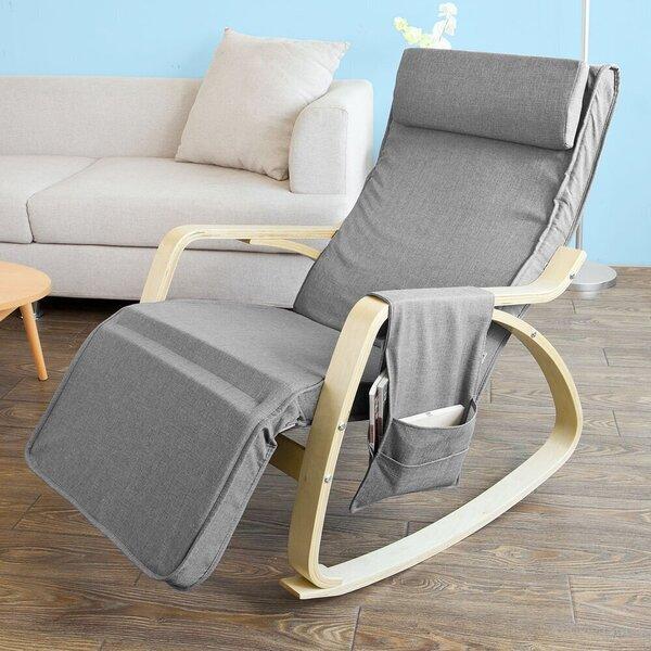Кресло-качалка SoBuy FST18-DG, серое/коричневое интернет-магазин