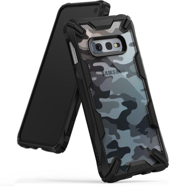 Ringke Fusion X Design durable PC Case with TPU Bumper for Samsung Galaxy S10e black Camo Black (XDSG0011-RPKG) (Black)