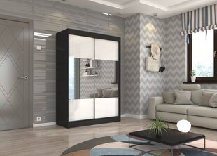 Skapis Adrk Furniture Tamos 150 cm, melns/balts cena un informācija | Skapji | 220.lv