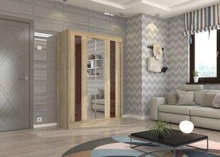 Skapis Adrk Furniture Keita 150 cm, tumši brūns/ozola krāsas cena un informācija | Skapji | 220.lv