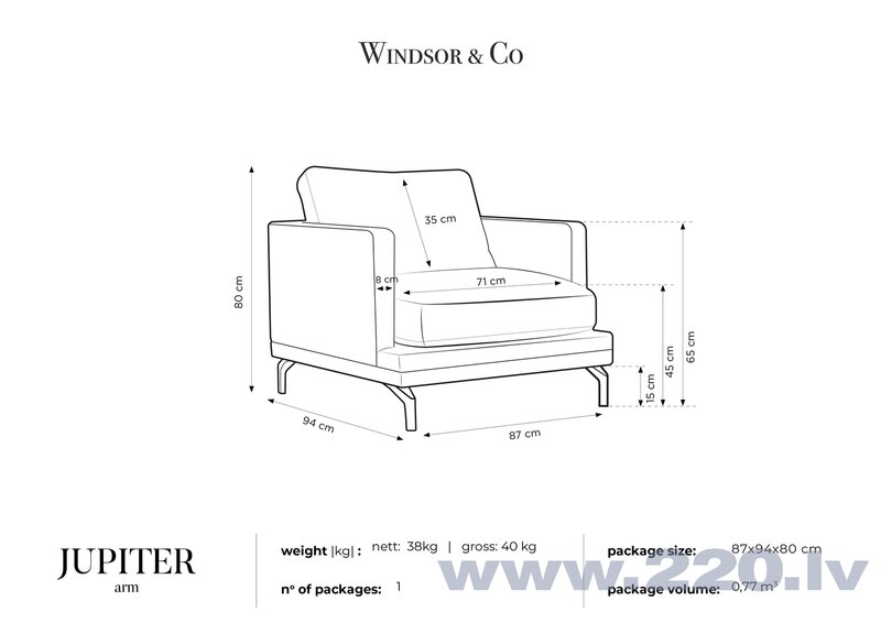 Krēsls Windsor and Co Jupiter, zaļš/melns