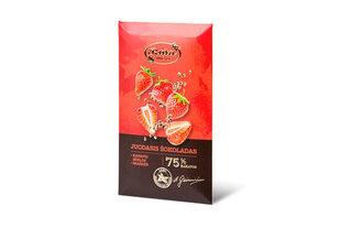 Tumšā šokolāde 75% ar kaņepju sēklām un zemenēm, 90g, aploksnē cena un informācija | Saldumi | 220.lv
