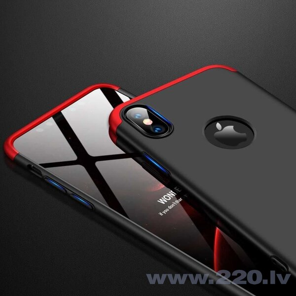 GKK 360 Protection Case Front and Back Case Full Body Cover iPhone XR black-red (logo hole) (Black || Red) atsauksme