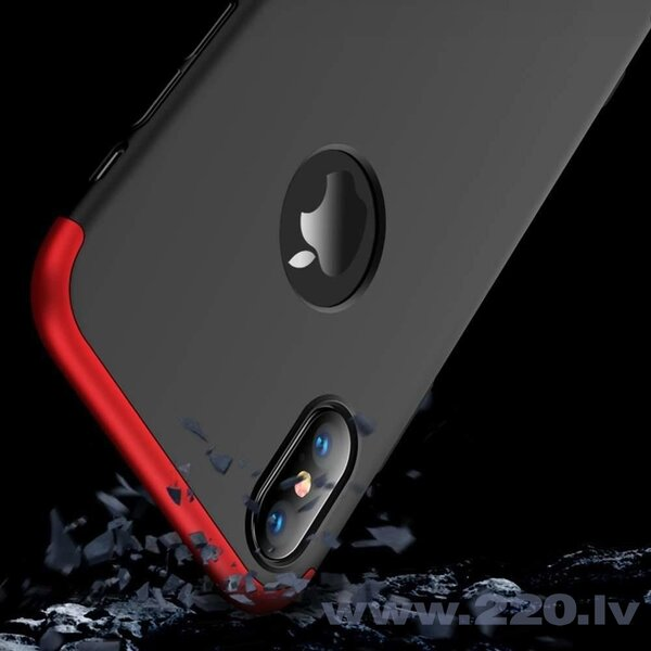 GKK 360 Protection Case Front and Back Case Full Body Cover iPhone XR black-red (logo hole) (Black || Red) cena