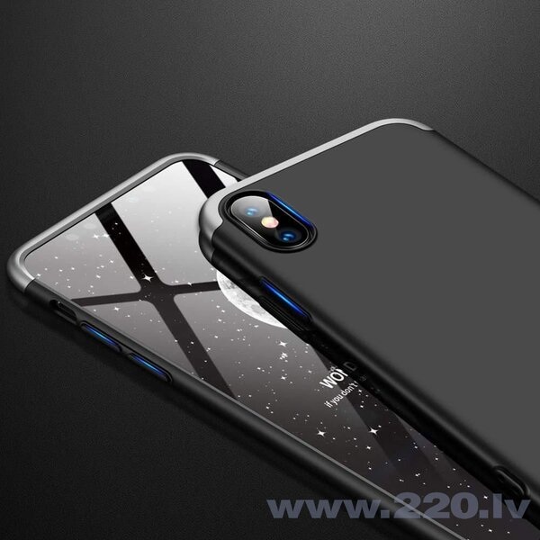 GKK 360 Protection Case Front and Back Case Full Body Cover iPhone XR black-silver (Black || Silver) lētāk