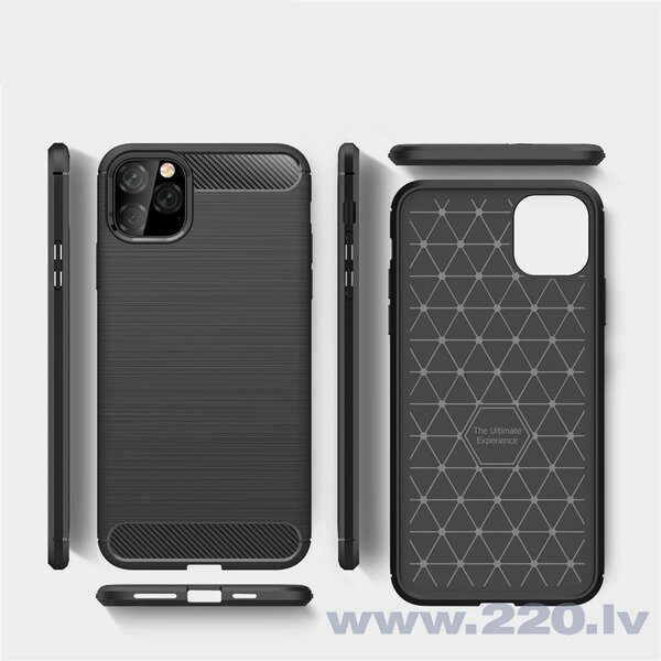 Carbon Case Flexible Cover TPU Case for iPhone 11 Pro Max black (Black)