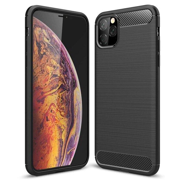 Carbon Case Flexible Cover TPU Case for iPhone 11 Pro black (Black) cena un informācija | Maciņi, somiņas | 220.lv