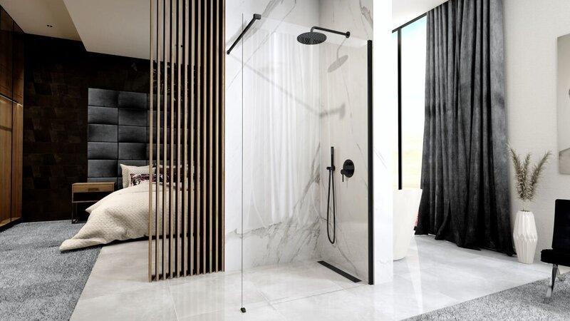 Dušas siena REA Aero black mat 90,100,110,120 cm cena