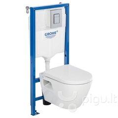 WC komplekts Grohe Serel 5in1: WC slēptais rāmis + tualetes pods + poga + lēni nolaižams vāks + fresh smaržas konteineris + skaņu izolējoša blīve цена и информация | Ванны, раковины, унитазы и биде | 220.lv