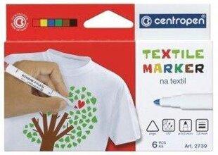 Marķieru komplekts tekstilam Centropen 2739, 6 krāsu cena un informācija | Rakstāmpiederumi | 220.lv