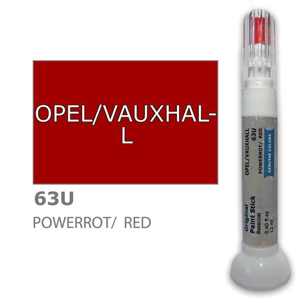 Krāsu korektors skrāpējumu korekcijai OPEL/VAUXHALL 63U - POWERROT/RED 12 ml