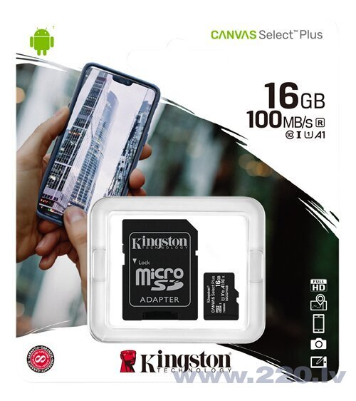 Kingston MicroSDHC 16GB (+ SD adapteris) cena