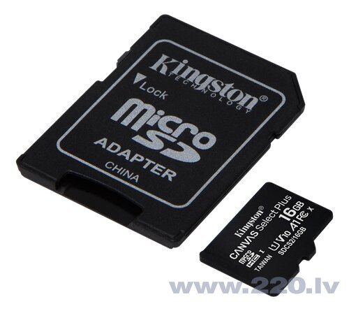 Kingston MicroSDHC 16GB (+ SD adapteris)