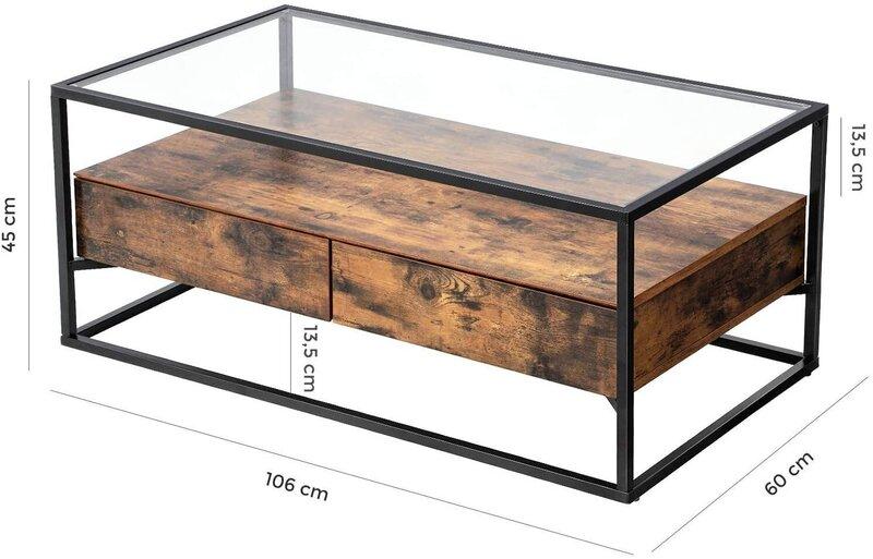 Kafijas galdiņš Songmics 106 cm, brūns/melns cena