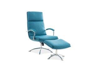 Krēsls ar pufu Signal Meble Jefferson, zils cena un informācija | Atpūtas krēsli | 220.lv