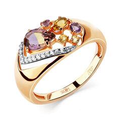 Zelta gredzens ar pusdārgakmeņiem 05ALM000188 cena un informācija | Gredzeni | 220.lv