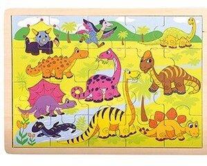 Koka puzle Bino Dinozauri, 20 gab. cena un informācija | Rotaļlietas zīdaiņiem | 220.lv