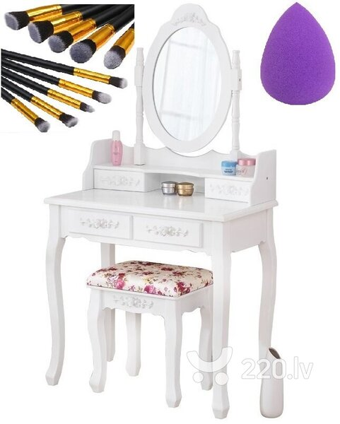 Kosmētikas galdiņš NORE ar mīkstu puķainu krēslu + dāvanā grima otiņu komplekts cena un informācija | Kosmētikas galdiņi | 220.lv