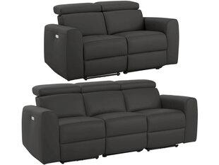 2-u dīvānu-reglaineru komplekts Notio Living Capena, mākslīga āda, tumši brūns cena un informācija | Dīvānu komplekti | 220.lv